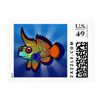 Cartoon Mandarin / Dragonet Fish Postage Stamp