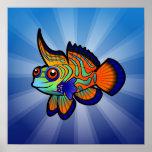 Cartoon Mandarin / Dragonet Fish Poster