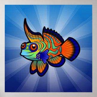 Cartoon Mandarin / Dragonet Fish Print