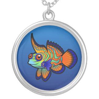 Cartoon Mandarin / Dragonet Fish Round Pendant Necklace