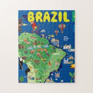 Cartoon Map of Brazil Jigsaw Puzzle