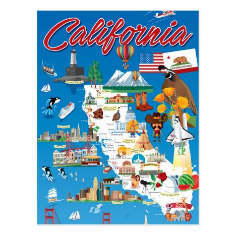 Cartoon Map of California Postcard