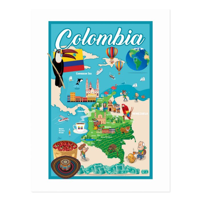 cartoon map of colombia postcard zazzle com cartoon map of colombia postcard zazzle com