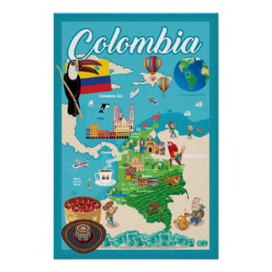 Cartoon Map of Colombia Poster