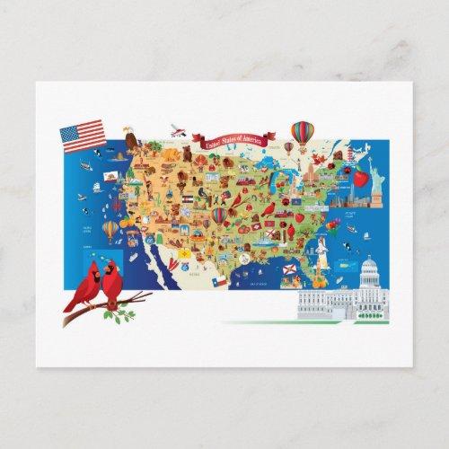 Cartoon Map of USA Postcard
