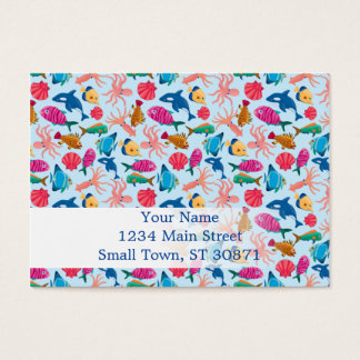 Cartoon Marine  Pattern for Childish Colorful Sea Business Card