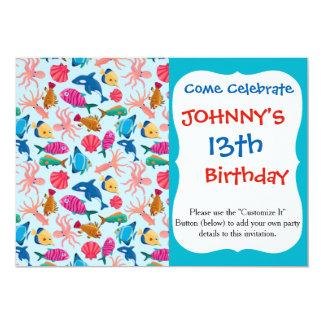 Cartoon Marine  Pattern for Childish Colorful Sea Card