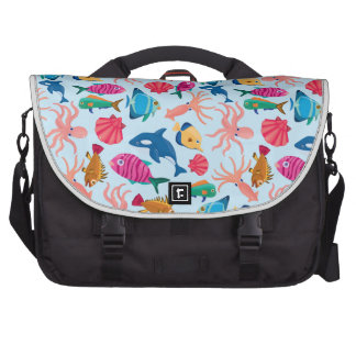 Cartoon Marine  Pattern for Childish Colorful Sea Bags For Laptop