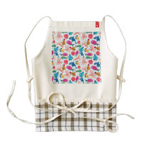 Cartoon Marine  Pattern for Childish Colorful Sea Zazzle HEART Apron