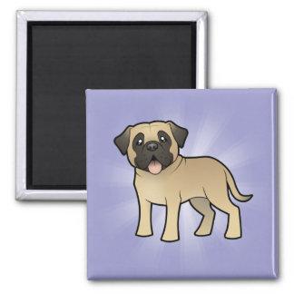 Cartoon Mastiff / Bullmastiff 2 Inch Square Magnet