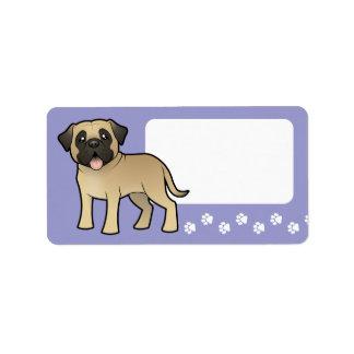 Cartoon Mastiff / Bullmastiff Label