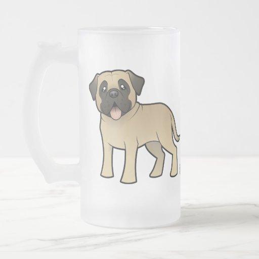 Cartoon Mastiff / Bullmastiff 16 Oz Frosted Glass Beer Mug