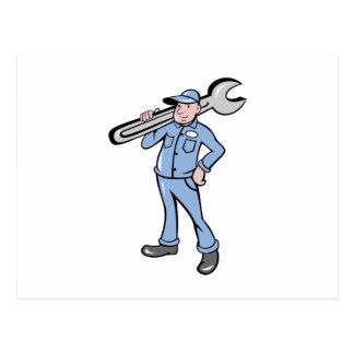 cartoon Mechanic tradesman worker spanner wrench Postcard