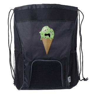 Cartoon Melting Ice Cream Cone Drawstring Backpack
