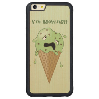 Cartoon Melting Ice Cream Cone (I'm Melting) Carved® Maple iPhone 6 Plus Bumper Case