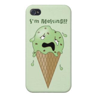 Cartoon Melting Ice Cream Cone (I'm Melting) Cases For iPhone 4