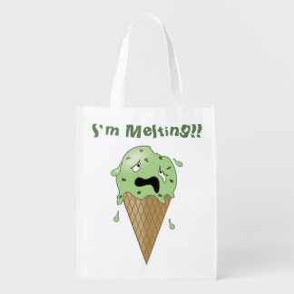 Cartoon Melting Ice Cream Cone (I'm Melting) Grocery Bag