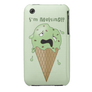 Cartoon Melting Ice Cream Cone (I'm Melting) iPhone 3 Covers