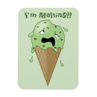 Cartoon Melting Ice Cream Cone (I'm Melting) Magnet