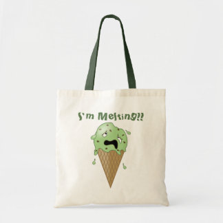 Cartoon Melting Ice Cream Cone (I'm Melting) Tote Bag