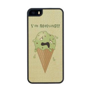 Cartoon Melting Ice Cream Cone (I'm Melting) Wood Phone Case For iPhone SE/5/5s