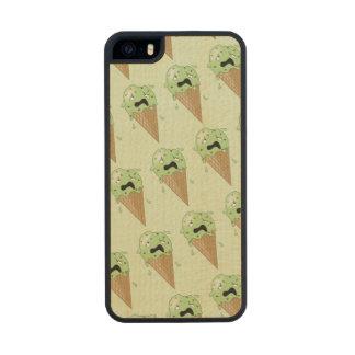 Cartoon Melting Ice Cream Cones Wood Phone Case For iPhone SE/5/5s
