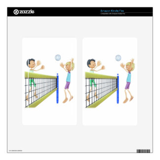 Cartoon Men Playing Volleyball Decal For Kindle Fire