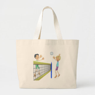 Cartoon Men Playing Volleyball Large Tote Bag