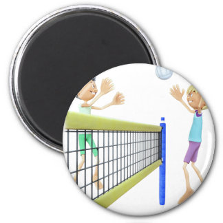 Cartoon Men Playing Volleyball Magnet
