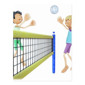 Cartoon Men Playing Volleyball Postcard