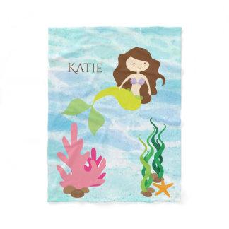 Cartoon Mermaid Personalized Fleece Baby Blanket