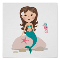 Cartoon mermaid with starfish and seahorse poster