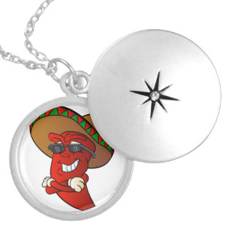 cartoon mexican pepper. locket necklace