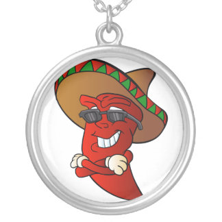 cartoon mexican pepper. silver plated necklace