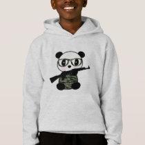 Cartoon Military Panda Bear Hoodie For Boys
