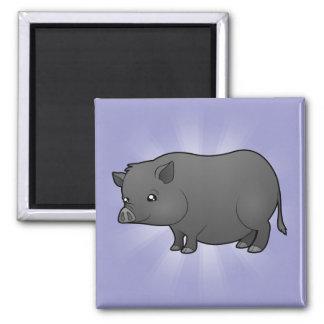 Cartoon Miniature Pig 2 Inch Square Magnet