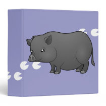 Cartoon Miniature Pig 3 Ring Binder