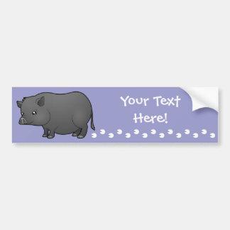 Cartoon Miniature Pig Bumper Sticker