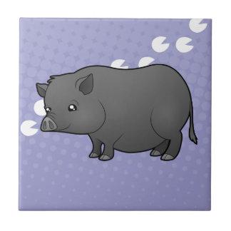 Cartoon Miniature Pig Ceramic Tile