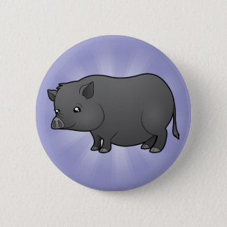 Cartoon Miniature Pig Pinback Button