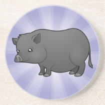 Cartoon Miniature Pig Sandstone Coaster