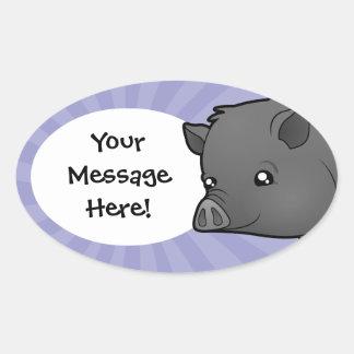 Cartoon Miniature Pig Oval Sticker