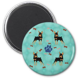 Cartoon Miniature Pinscher 2 Inch Round Magnet