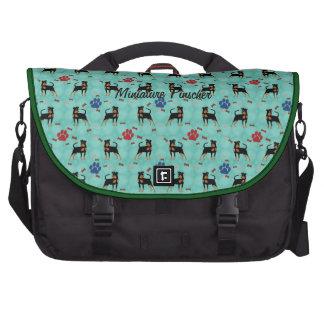 Cartoon Miniature Pinscher Laptop Bags