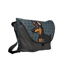 Cartoon Miniature Pinscher / Manchester Terrier Courier Bag at Zazzle