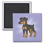 Cartoon Miniature Pinscher / Manchester Terrier Refrigerator Magnets
