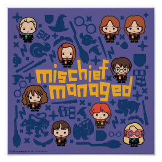 "Cartoon ""Mischief Managed"" Graphic Poster"