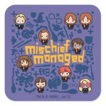 """Cartoon """"Mischief Managed"""" Graphic Square Sticker"""
