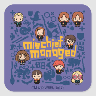 "Cartoon ""Mischief Managed"" Graphic Square Sticker"