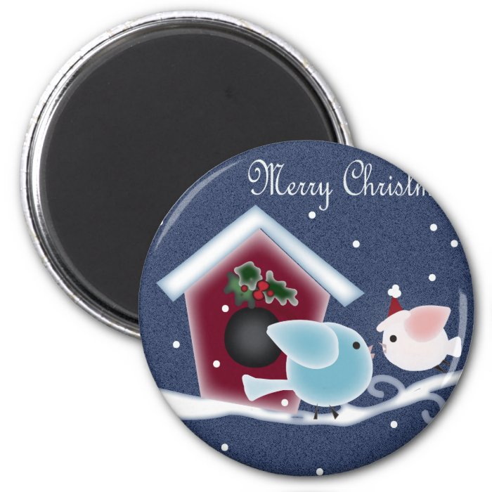 Cartoon mistletoe Love Birds Our First Christmas 2 Inch Round Magnet